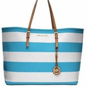 MK jetset blue and white bag